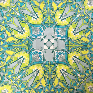 Large Liberty of London Silk Scarf in Ianthe Design in Turquoise Blue, Lime Green, Teal and Ivory Made in Italy-Scarves-Brand Spanking Vintage