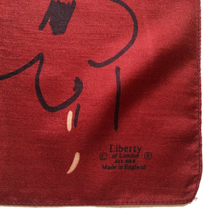 Vintage Liberty of London Silk Scarf in Burgundy/Black/Taupe in Scribble Design Made inEngland-Scarves-Brand Spanking Vintage