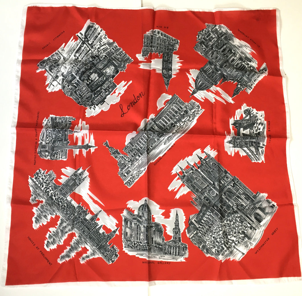 Vintage 50s London Scenes Tourist Scarf by Clifford Bond Made in Italy-Scarves-Brand Spanking Vintage