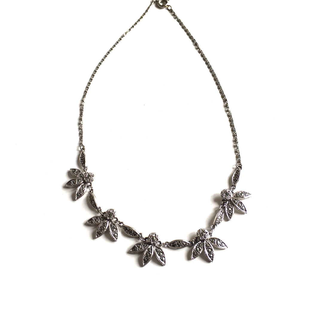 Vintage 60s Dainty Marcasite Flower/Leaf Necklace in Choker Length-Accessories, For Her-Brand Spanking Vintage