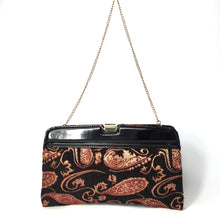 Load image into Gallery viewer, Vintage 70s/80s Red Black and Gold Paisley Chenille Tapestry and Black Patent Leather Clutch Shoulder Chain Bag-Vintage Handbag, Clutch Bag-Brand Spanking Vintage