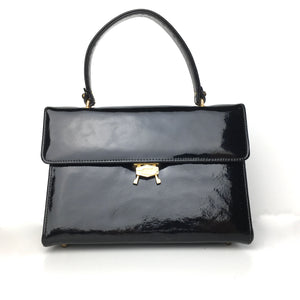 Vintage 60s Black Patent Leather Jackie O Style Top Handle Kelly Bag by Mastercraft Made in Canada-Vintage Handbag, Kelly Bag-Brand Spanking Vintage