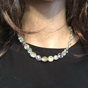 Vintage 50s Aurora Borealis Graduated Crystal Glass Bead Necklace with Crystal and Silvertone Clasp-Accessories, For Her-Brand Spanking Vintage