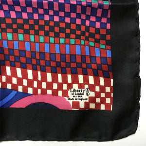 Vintage Liberty Collier Campbell Silk Scarf in Collectable 'Bauhaus' Design in Deep Rich Colours Pink/Green/Blue/Mustard-Scarves-Brand Spanking Vintage