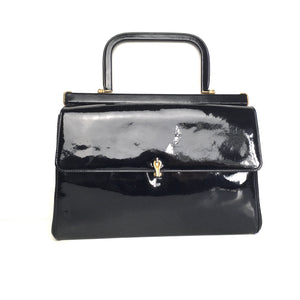 Vintage 60s 70s Black Patent Leather Gilt Clasp Jackie O Style Kelly Bag by Waldybag for Pidduck Hanley-Vintage Handbag, Kelly Bag-Brand Spanking Vintage