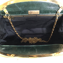 Load image into Gallery viewer, Vintage 70s/80s Large Emerald Green Snakeskin Gilt Clasp Clutch Bag w/ Fold Out Gilt Chain by Melluso, Made in Italy-Vintage Handbag, Exotic Skins-Brand Spanking Vintage