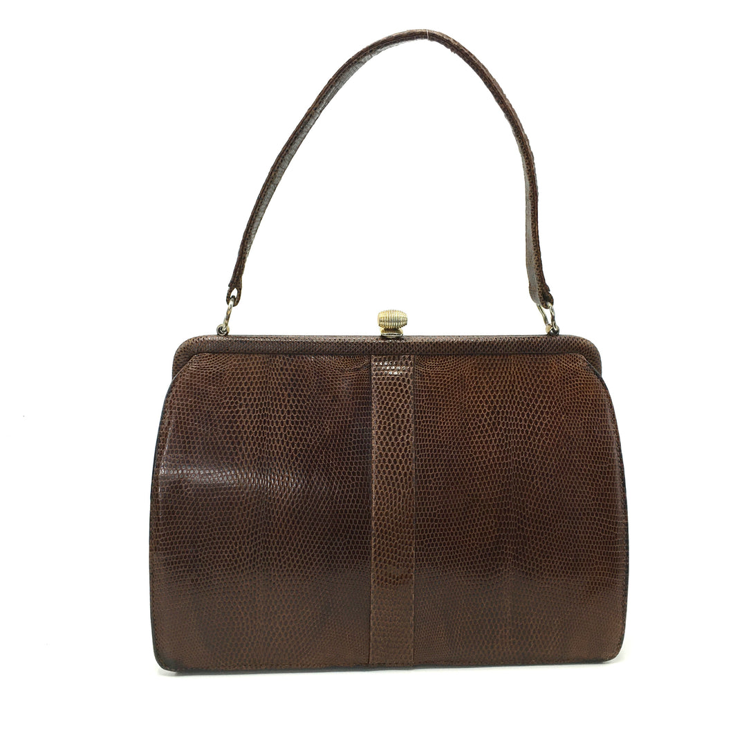 Vintage 50s Classic Mappin And Webb Brown Lizard Skin Kelly Bag with Gilt Barrel Clasp-Vintage Handbag, Exotic Skins-Brand Spanking Vintage