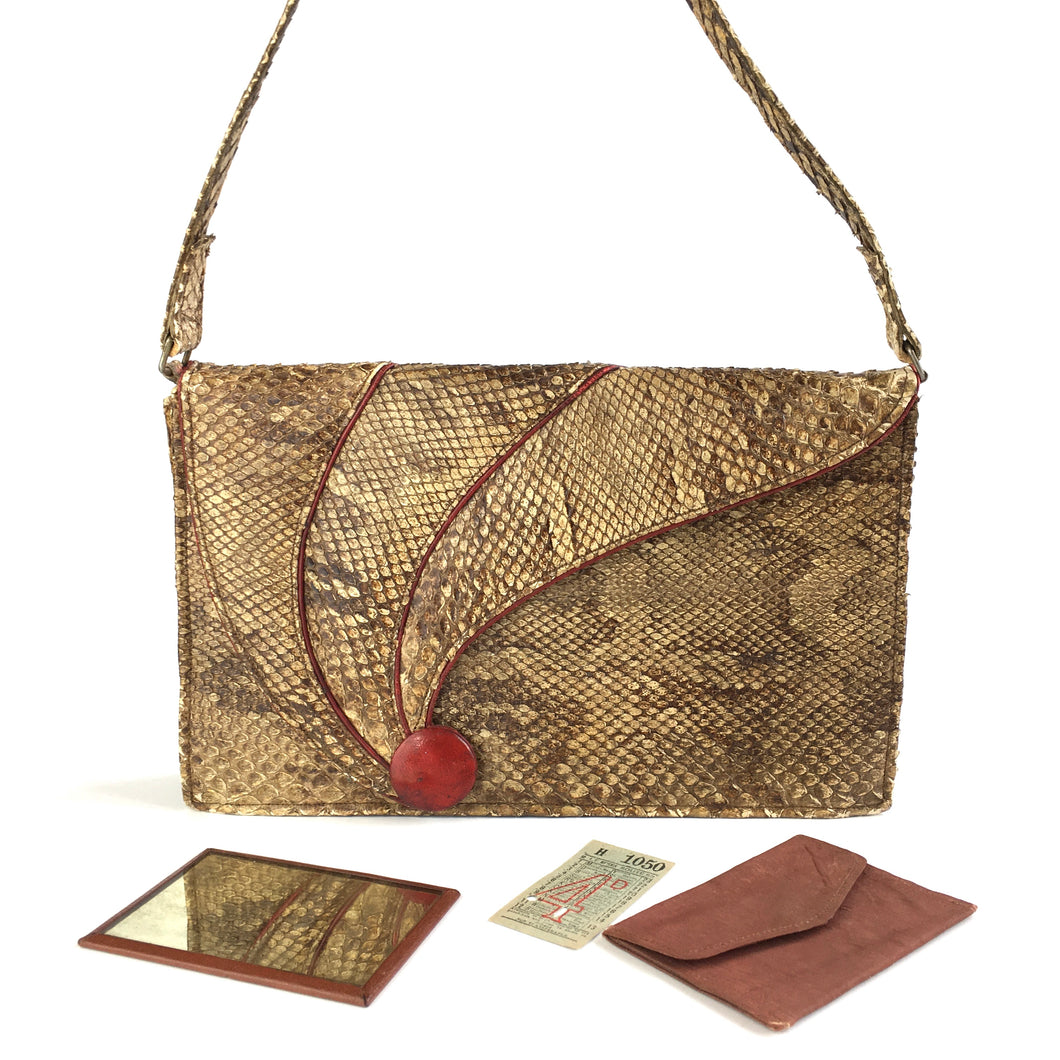 Vintage 30s 40s Snakeskin and Leather Handbag/Shoulder Bag with Feature Red Leather Button Clasp and Matching Purse/Mirror-Vintage Handbag, Exotic Skins-Brand Spanking Vintage