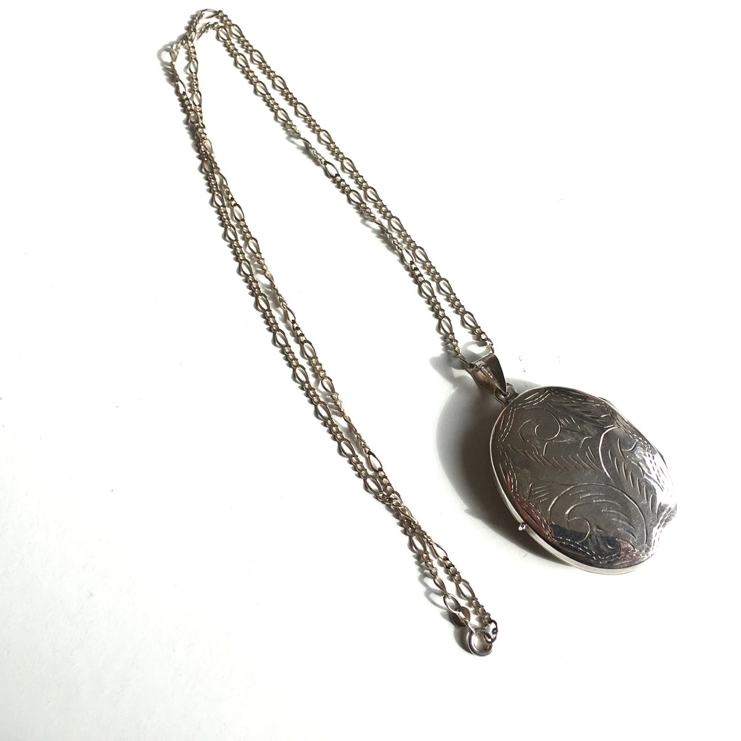Large Sterling Silver Engraved Locket with Dainty 24