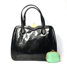 Load image into Gallery viewer, Vintage Large Black Patent Leather Kelly Bag with Green Leather Lining and Matching Coin Purse-Vintage Handbag, Kelly Bag-Brand Spanking Vintage