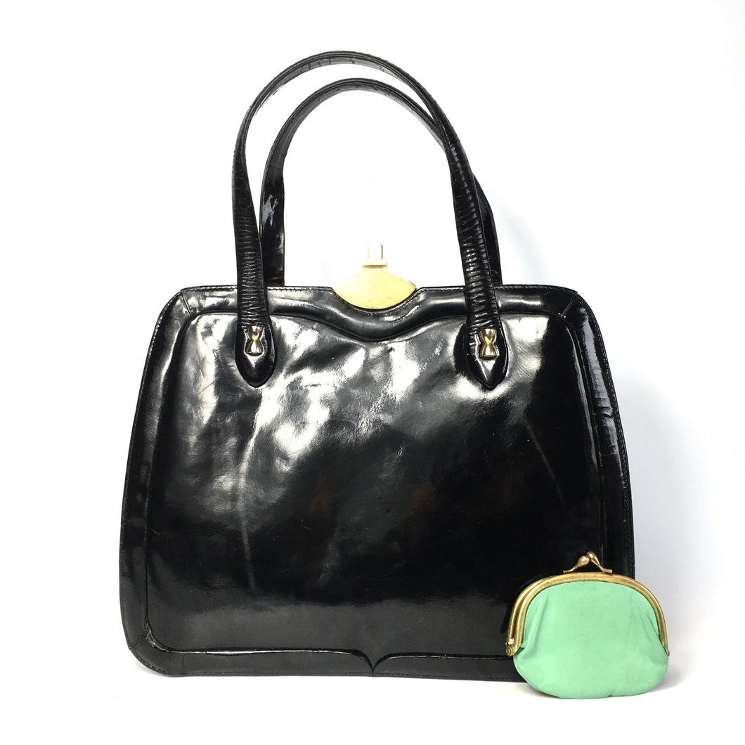 Vintage Large Black Patent Leather Kelly Bag with Green Leather Lining and Matching Coin Purse-Vintage Handbag, Kelly Bag-Brand Spanking Vintage