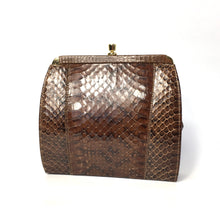 Load image into Gallery viewer, Vintage Coffee Brown Snakeskin Clutch Bag with Fold In Chain Handle and Leather Lining Made in England-Vintage Handbag, Exotic Skins-Brand Spanking Vintage