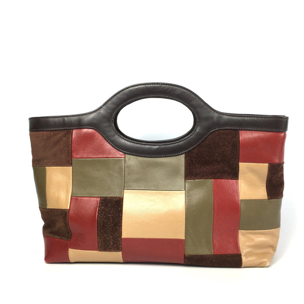 Vintage 70s Large Leather Patchwork Work Bag Tote Bag Handbag Red Green Brown Mustard by Jane Shilton-Vintage Handbag, Large Handbag-Brand Spanking Vintage