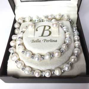Bella Perlina Baroque Freshwater Pearl Necklace Bracelet and Pearl Earrings-Accessories, For Her-Brand Spanking Vintage