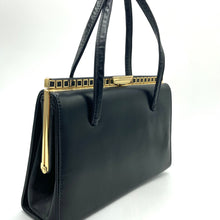 Load image into Gallery viewer, Vintage Black Leather Glamorous Kelly Bag w/ Intricate Gilt Square Detail And Elegant Clasp-Vintage Handbag, Kelly Bag-Brand Spanking Vintage