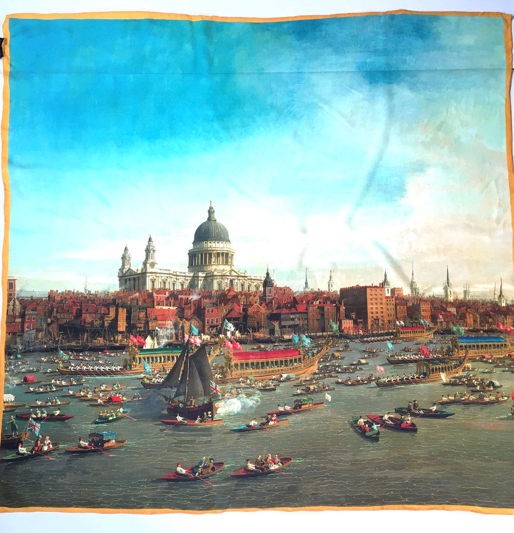 Stunning Large Silk Scarf National Maritime Museum Canaletto Thames w/St Paul's Cathedral 1747/48-Scarves-Brand Spanking Vintage