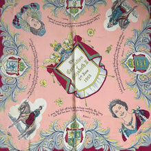Load image into Gallery viewer, Vintage Large 1953 HM Queen Elizabeth Coronation Scarf in Burgundy/Pink/Ivory-Scarves-Brand Spanking Vintage