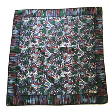 Load image into Gallery viewer, Vintage Liberty of London Silk Scarf in Modernist Circles Design in Black, Blues, Green, Ivory and Wine Made in England-Scarves-Brand Spanking Vintage