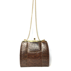 Vintage Coffee Brown Snakeskin Clutch Bag with Fold In Chain Handle and Leather Lining Made in England-Vintage Handbag, Exotic Skins-Brand Spanking Vintage