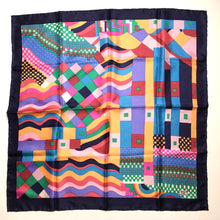 Load image into Gallery viewer, Vintage Liberty of London 60s/70s Large Silk Scarf in Collier Campbell Bauhaus in Rich Deep Shades, Rare Collectable, Made in England-Scarves-Brand Spanking Vintage