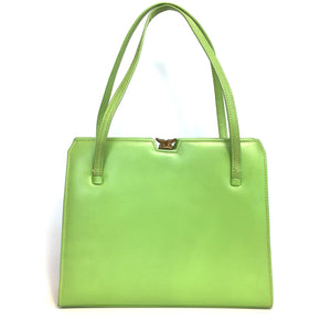 Vintage 50s 60s Lime Green Leather Twin Handled Kelly Bag with Suede Lining-Vintage Handbag, Kelly Bag-Brand Spanking Vintage