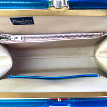 Load image into Gallery viewer, Vintage 50s 60s Stunning Kingfisher Blue/Green Pearlescent Leather Handbag Kelly Bag by Meadows Regent Street London-Vintage Handbag, Kelly Bag-Brand Spanking Vintage