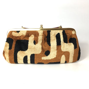 Vintage 70s Rare Weymouth American Chenille Folding Handle Clutch Bag in Beige/Rust/Black-Vintage Handbag, Clutch Bag-Brand Spanking Vintage