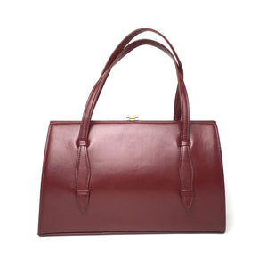 Vintage 50s Dark Burgundy Wine Red Leather Top Handle Kelly Bag by Garfields Made in England-Vintage Handbag, Kelly Bag-Brand Spanking Vintage