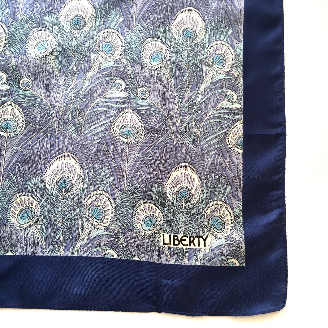 Vintage Liberty of London Silk Scarf in Iconic 'Hera' Peacock Feather Design in Royal Blue, Silver Grey, Turquoise-Scarves-Brand Spanking Vintage