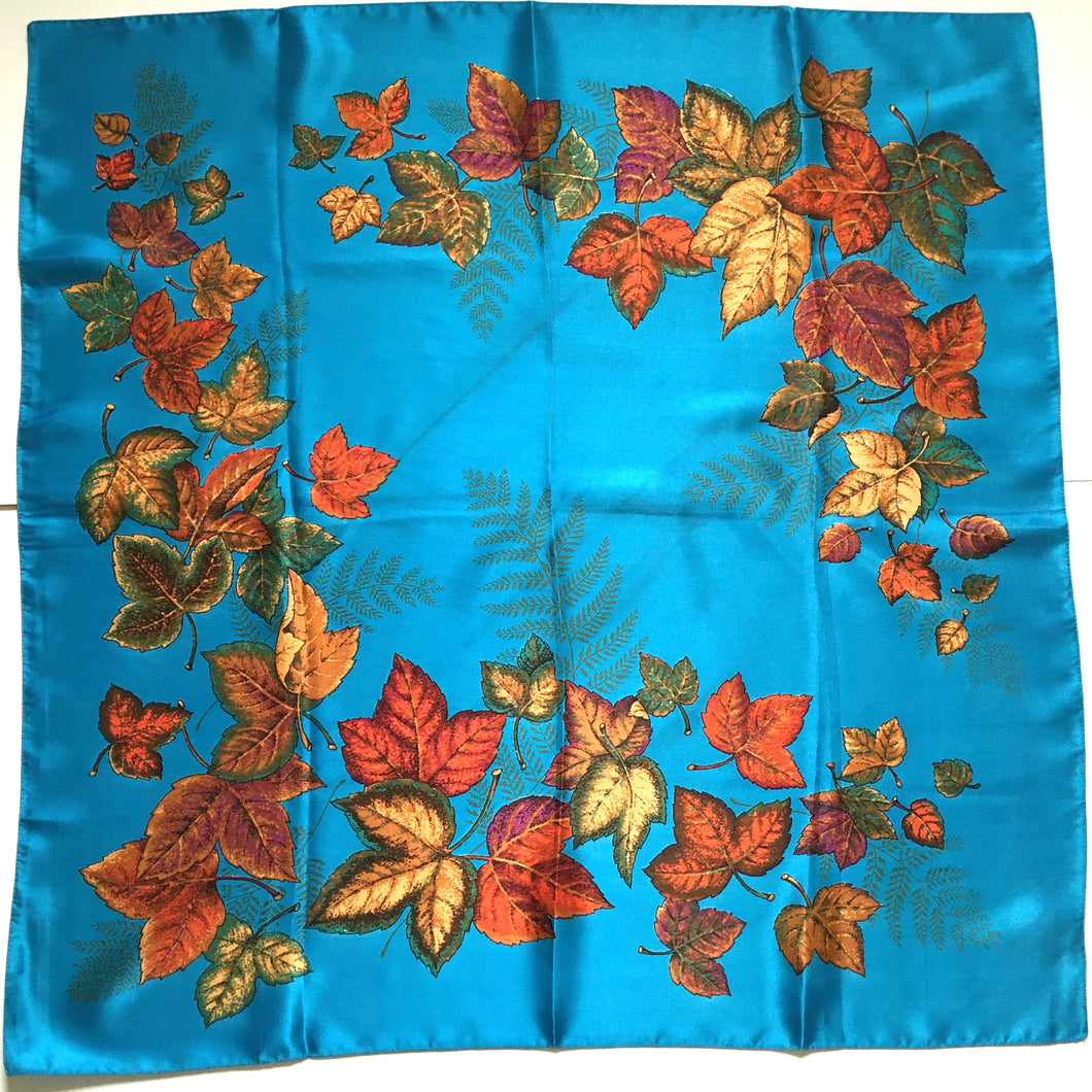 Vintage St Michael Rayon Satin Scarf in Vibrant Turquoise, Copper, Gold and Green Made in Italy-Scarves-Brand Spanking Vintage