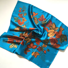 Load image into Gallery viewer, Vintage St Michael Rayon Satin Scarf in Vibrant Turquoise, Copper, Gold and Green Made in Italy-Scarves-Brand Spanking Vintage