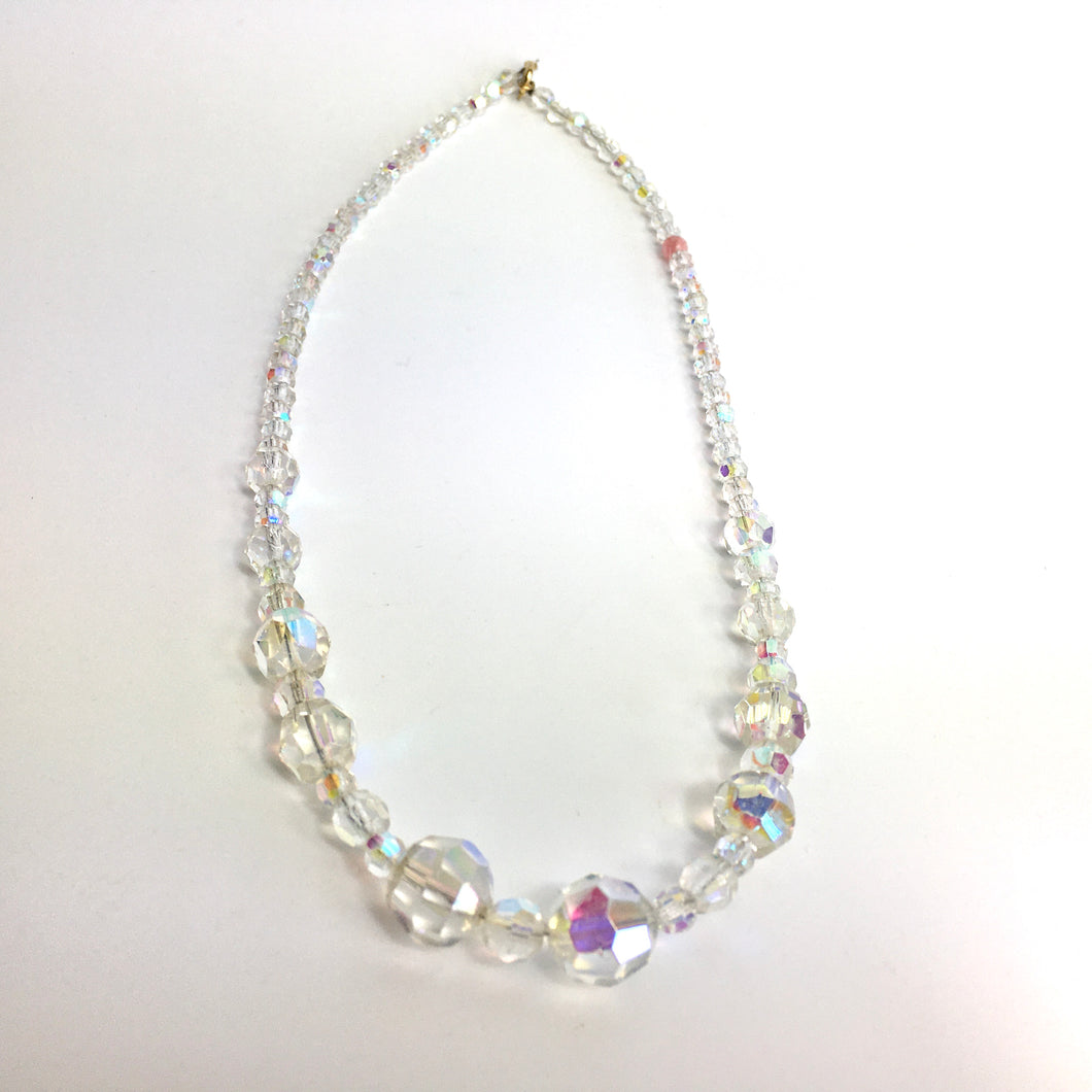 Vintage 50s Aurora Borealis Graduated Crystal Glass Bead Necklace with Gilt Clasp-Accessories, For Her-Brand Spanking Vintage