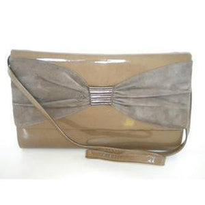Bruno Magli Taupe 80s/90s Patent Leather And Suede Large Clutch w/ Optional Shoulder Strap, Unused w/ Dust Bag-Vintage Handbag, Clutch Bag-Brand Spanking Vintage