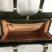 Load image into Gallery viewer, Fabulous vintage 60s/70s leather bag in green patent leather Kelly bag style, Kelly purse by Widegate, made in England excellent condition-Vintage Handbag, Kelly Bag-Brand Spanking Vintage