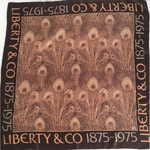 Fabulous Vintage Large Liberty Silk Scarf In Iconic 'Hera' Design In Rich Browns And Taupe Commemorating 100th Anniversary Of Liberty-Scarves-Brand Spanking Vintage