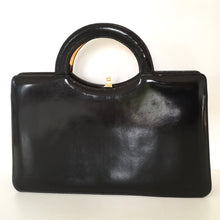 Load image into Gallery viewer, Vintage 70s Widegate Leather Bag, Purse, Black/Brown Patent, Unused, Lucite Top Handle in Faux Tortoiseshell, Very on Trend, Made in England-Vintage Handbag, Large Handbag-Brand Spanking Vintage
