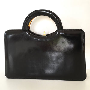 Vintage 70s Widegate Leather Bag, Purse, Black/Brown Patent, Unused, Lucite Top Handle in Faux Tortoiseshell, Very on Trend, Made in England-Vintage Handbag, Large Handbag-Brand Spanking Vintage