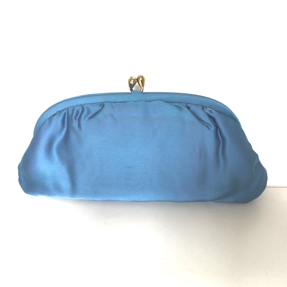 Vintage Turquoise/Blue Silk Satin Clutch Evening/Occasion Bag by Bagcraft Made in England-Vintage Handbag, Evening Bag-Brand Spanking Vintage