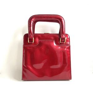 Vintage 1950s/60s Lipstick Red Patent Leather Dainty Kelly Bag, Top Handle Bag by Lodix Made in England-Vintage Handbag, Kelly Bag-Brand Spanking Vintage