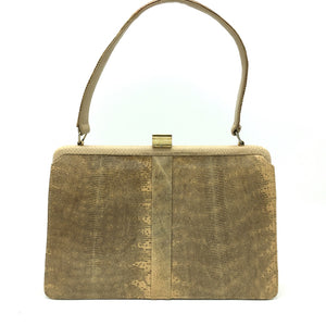 Exquisite Vintage Monitor Lizard Skin Handbag, Kelly Bag, Top Handle Bag By Mappin And Webb-Vintage Handbag, Exotic Skins-Brand Spanking Vintage