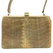 Load image into Gallery viewer, Exquisite Vintage Monitor Lizard Skin Handbag, Kelly Bag, Top Handle Bag By Mappin And Webb-Vintage Handbag, Exotic Skins-Brand Spanking Vintage