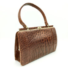 Load image into Gallery viewer, Beautiful Vintage 50s Handbag In Crocodile Skin, Kelly Bag Style By Riviera In Rich Chestnut/Copper-Vintage Handbag, Exotic Skins-Brand Spanking Vintage