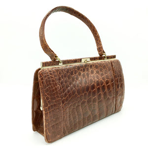 Beautiful Vintage 50s Handbag In Crocodile Skin, Kelly Bag Style By Riviera In Rich Chestnut/Copper-Vintage Handbag, Exotic Skins-Brand Spanking Vintage