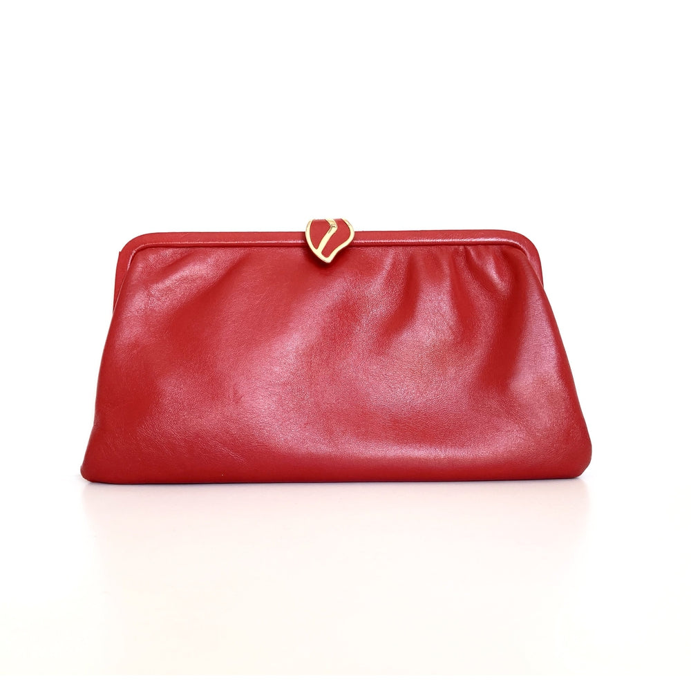 Vintage 60s 70s Lipstick Red Leather Clutch Bag, Clutch Purse, Evening or Occasion bag, Gilt and Leather 'Leaf' Clasp by Jane Shilton Made in England-Vintage Handbag, Clutch Bag-Brand Spanking Vintage