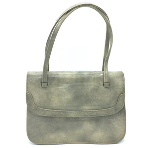 Delightful Vintage 60s Freedex Patent Leather Mottled Taupe/Stone/Grey Twin Handled Kelly Bag-Vintage Handbag, Kelly Bag-Brand Spanking Vintage