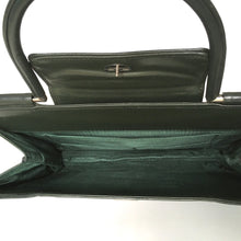 Load image into Gallery viewer, Vintage 60s 70s large slim green leather top handle handbag with silvertone fittings-Vintage Handbag, Kelly Bag-Brand Spanking Vintage