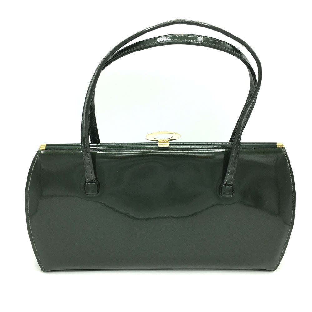 Vintage 60s Large Forest Green Patent Leather Kelly Bag by Holmes of Norwich-Vintage Handbag, Kelly Bag-Brand Spanking Vintage