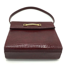 Load image into Gallery viewer, Vintage 60s/70s Rayne Red Handbag In Raspberry Red Patent Leather Faux Crocodile-Vintage Handbag, Kelly Bag-Brand Spanking Vintage