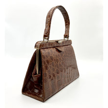 Load image into Gallery viewer, Vintage 50s Superb Quality Light Chestnut Crocodile Kelly Bag w/ Tan Leather Lining By Widegate-Vintage Handbag, Exotic Skins-Brand Spanking Vintage
