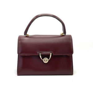 Vintage Handbag 60s In Dainty Small Satchel Style bag In Burgundy Leather w/ Postman's Lock-Vintage Handbag, Kelly Bag-Brand Spanking Vintage